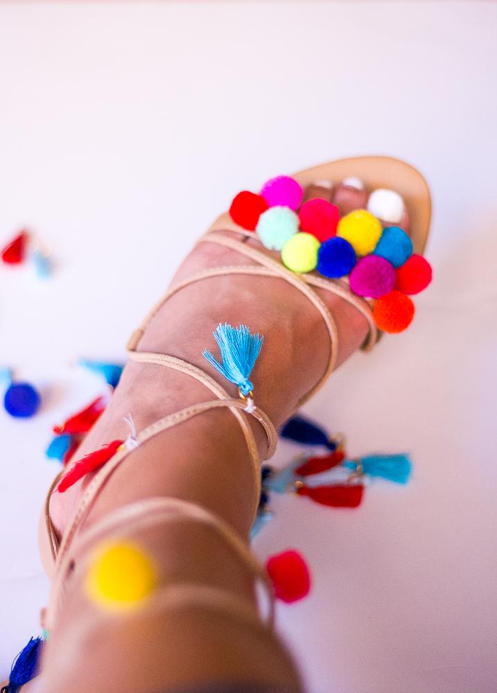 Colorful Tassel Sandals