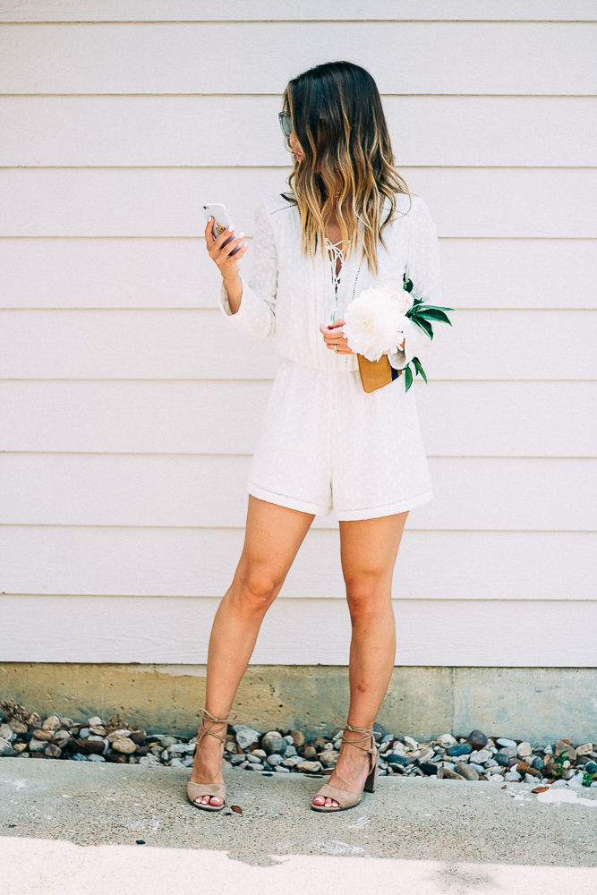 lace-up white romper