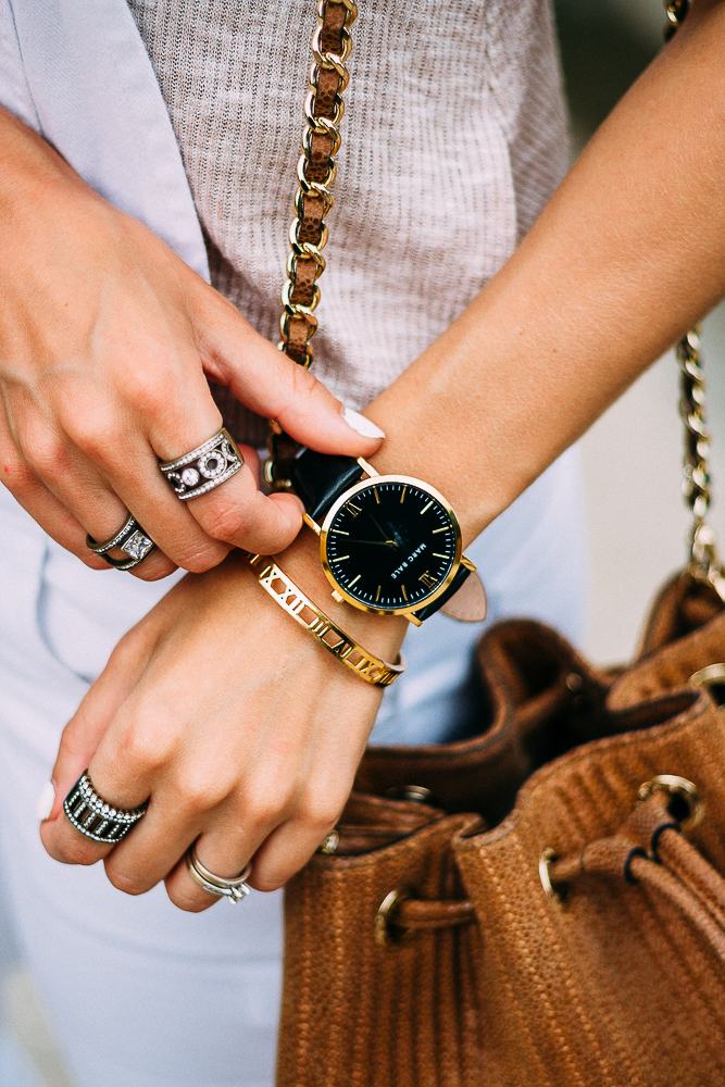 Black and Gold Watch with overalls