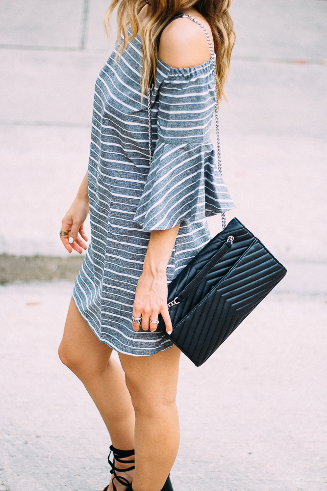 Ruffled bell sleeve dress