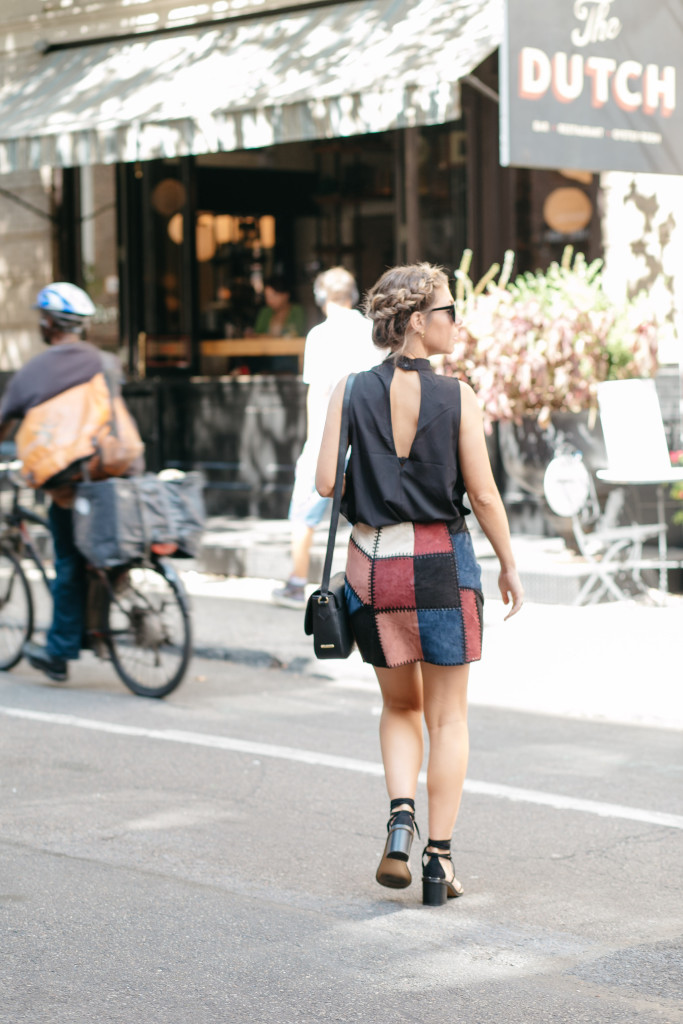 trendy transitional piece for fall faux suede skirt NYFW street style