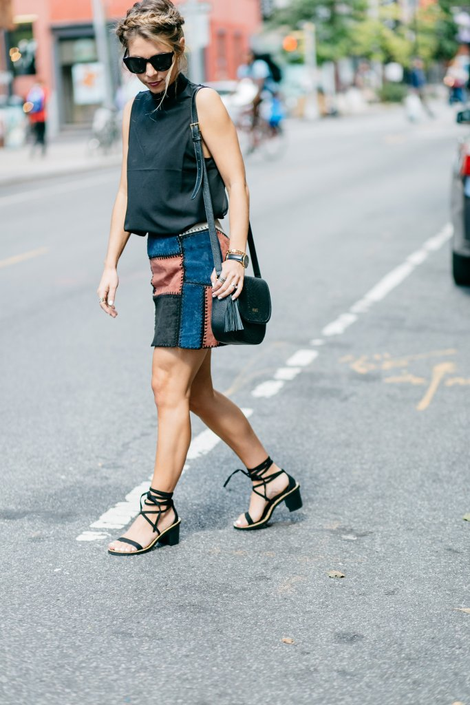 trendy transitional piece for fall faux suede skirt fashion week
