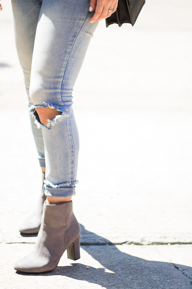 ripped jeans and ankle booties