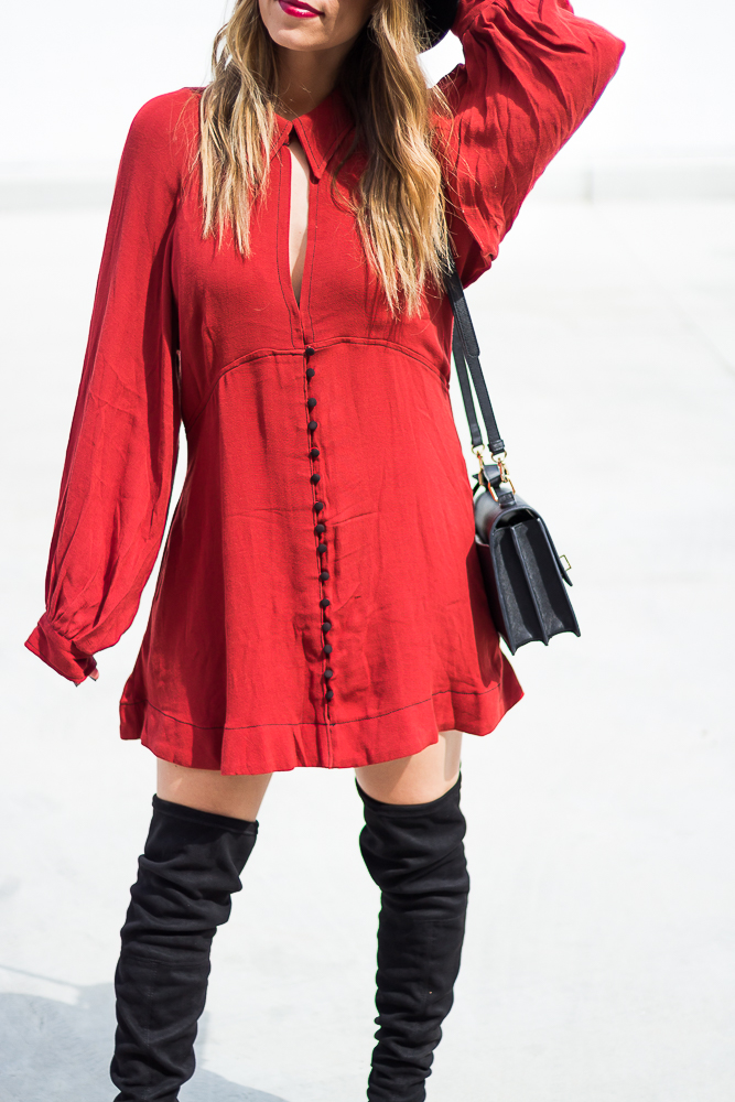 button down mini dress