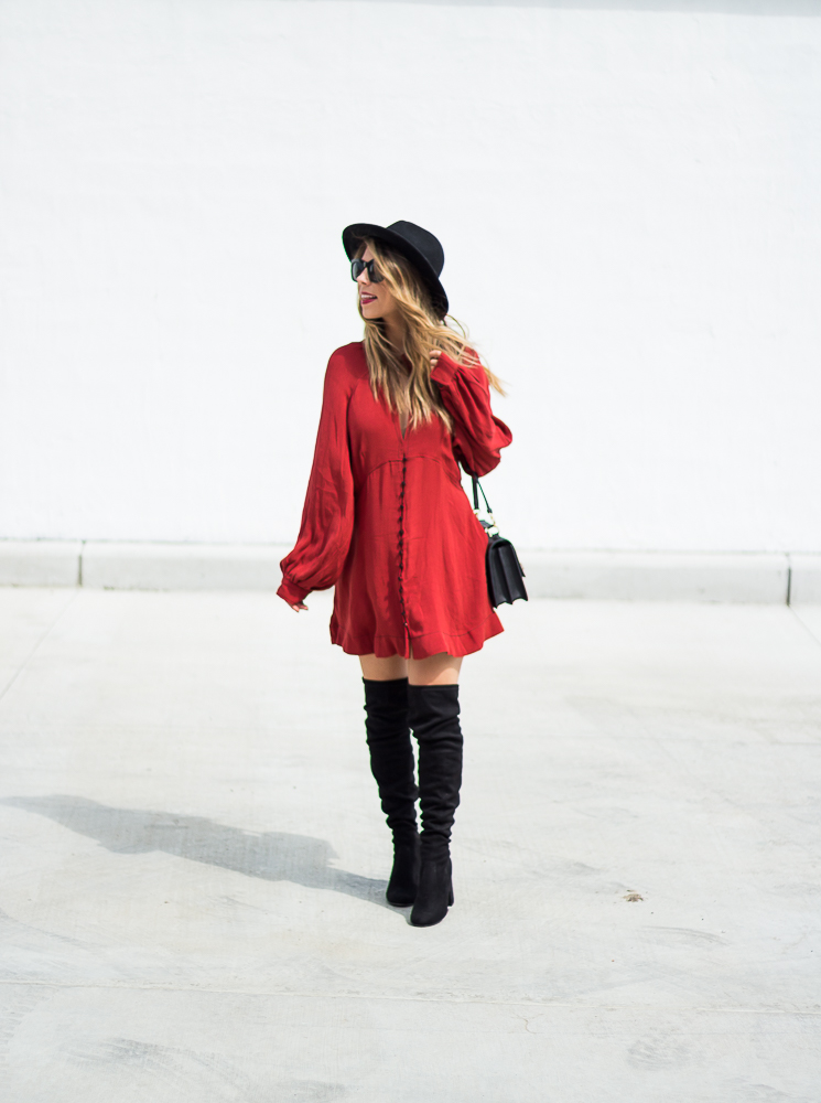 free people red dress and black boots