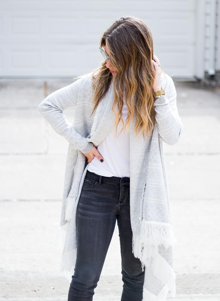 grey and white fringe cardigan