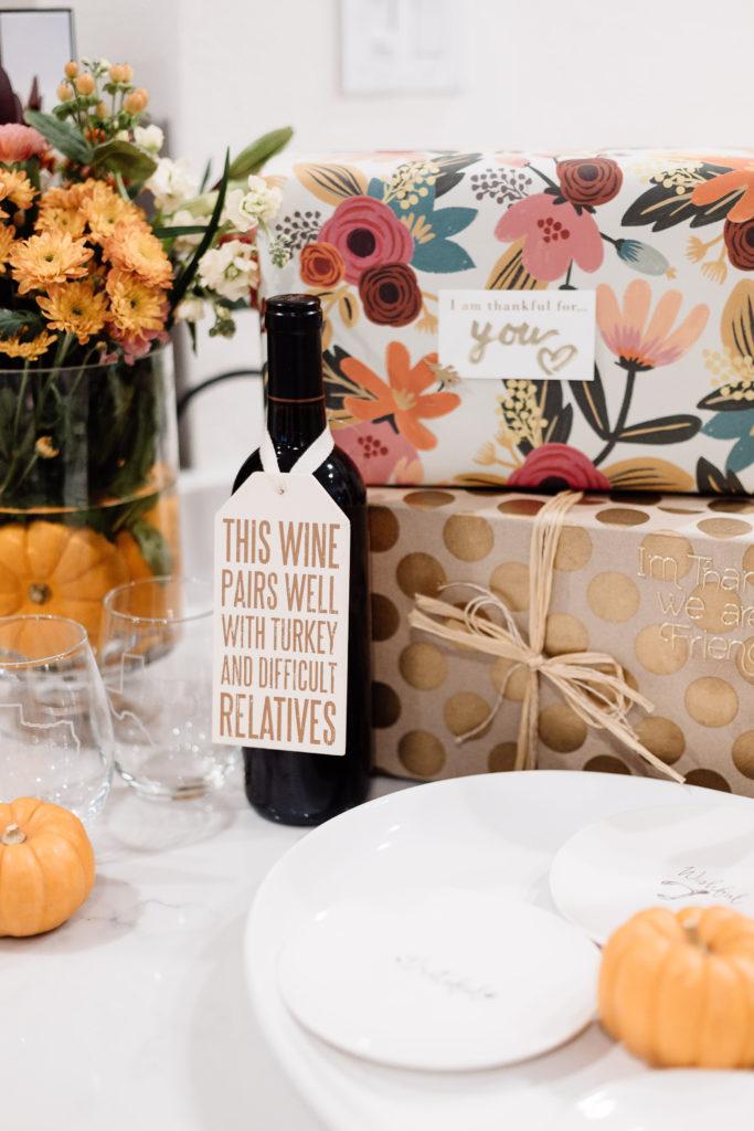 Thanksgiving wine tag