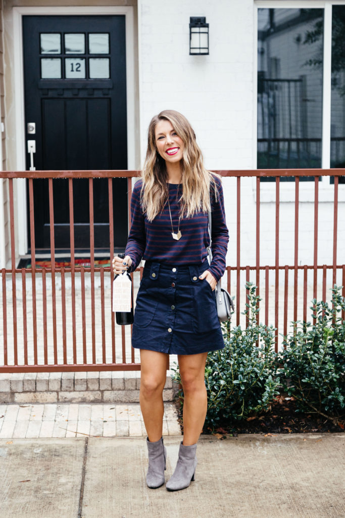 Navy and Red top with navy skirt and booties