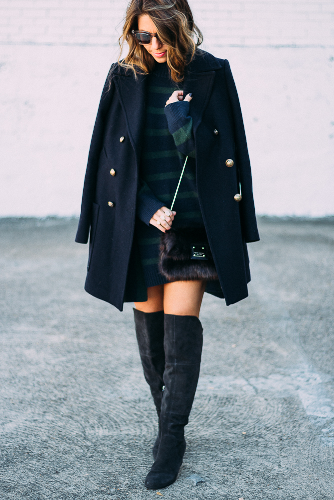 Navy Peacoat and Oversize Sweater