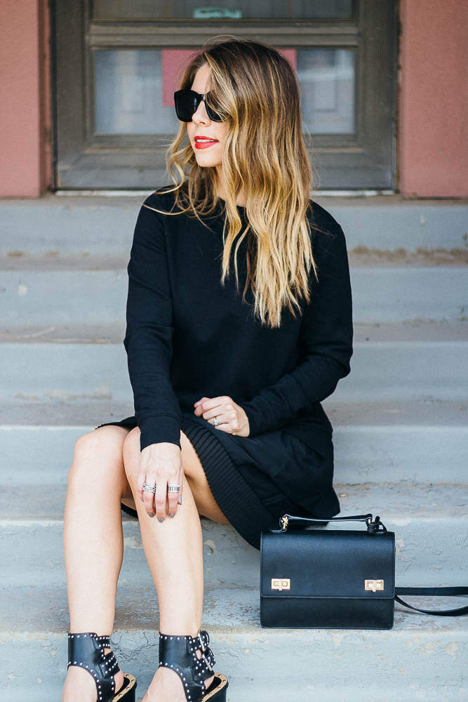 black sweatshirt dress fcuk