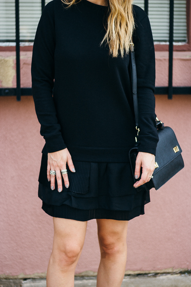 black ruffle skirt dress