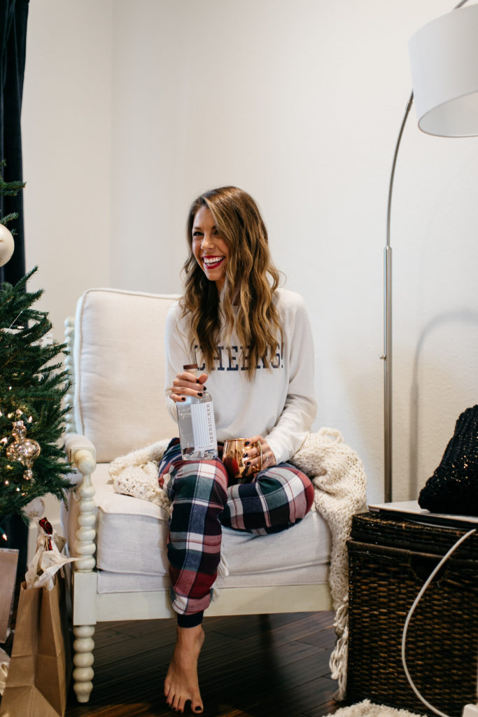 Cranberry Moscow Mule Recipe and cute pajamas