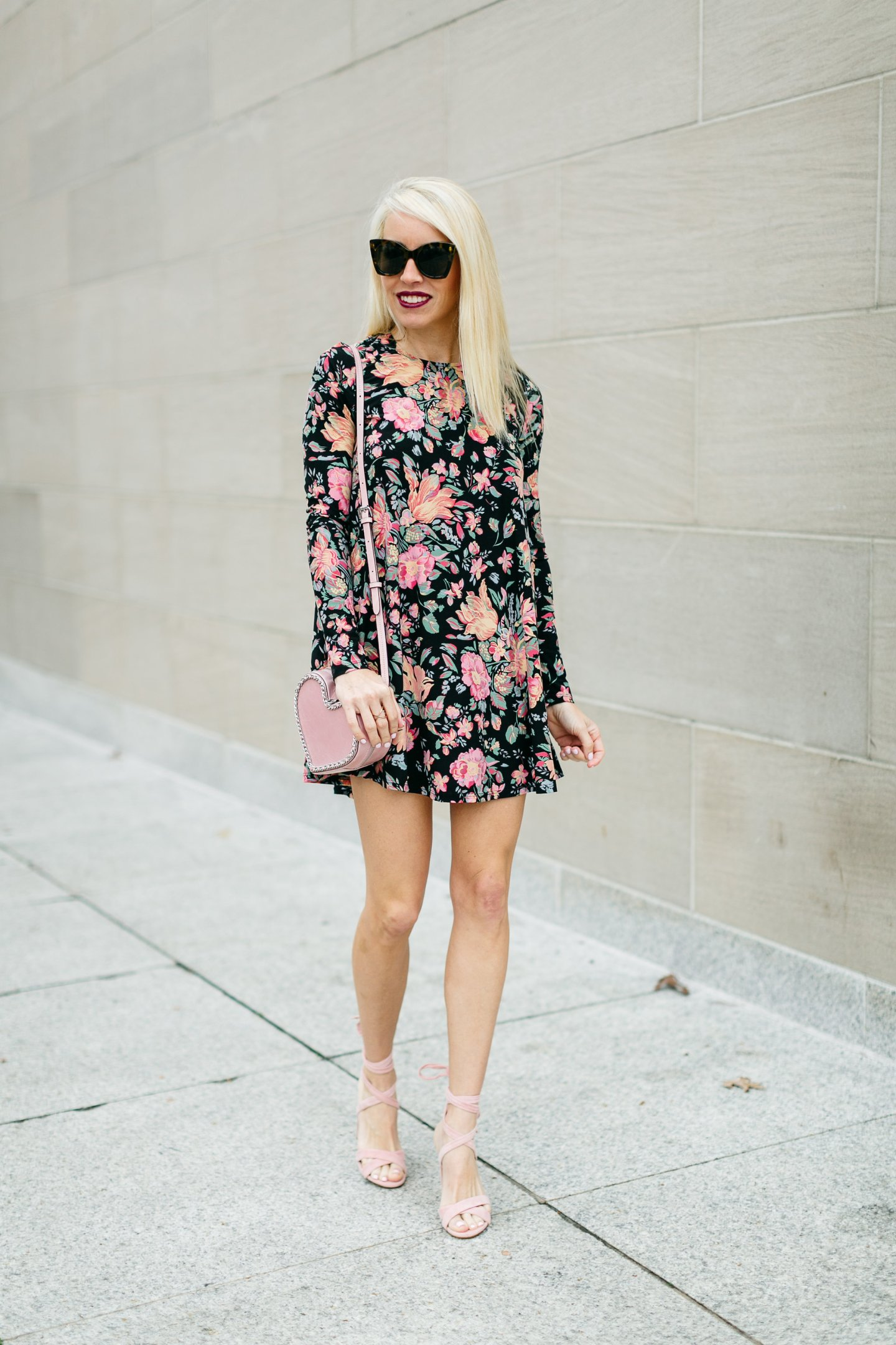 black and pink floral shift dress