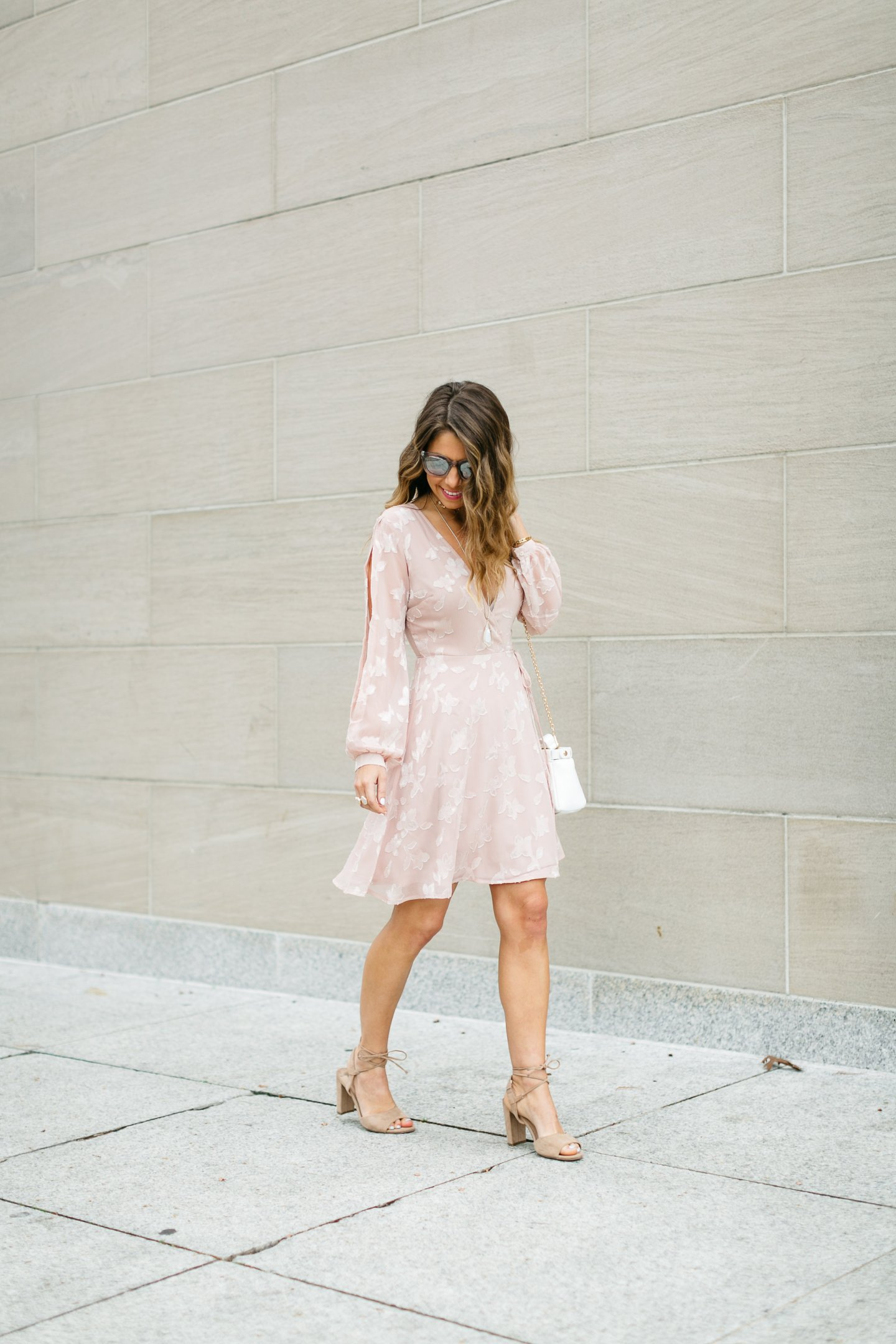 pale pink wrap dress with split sleeves