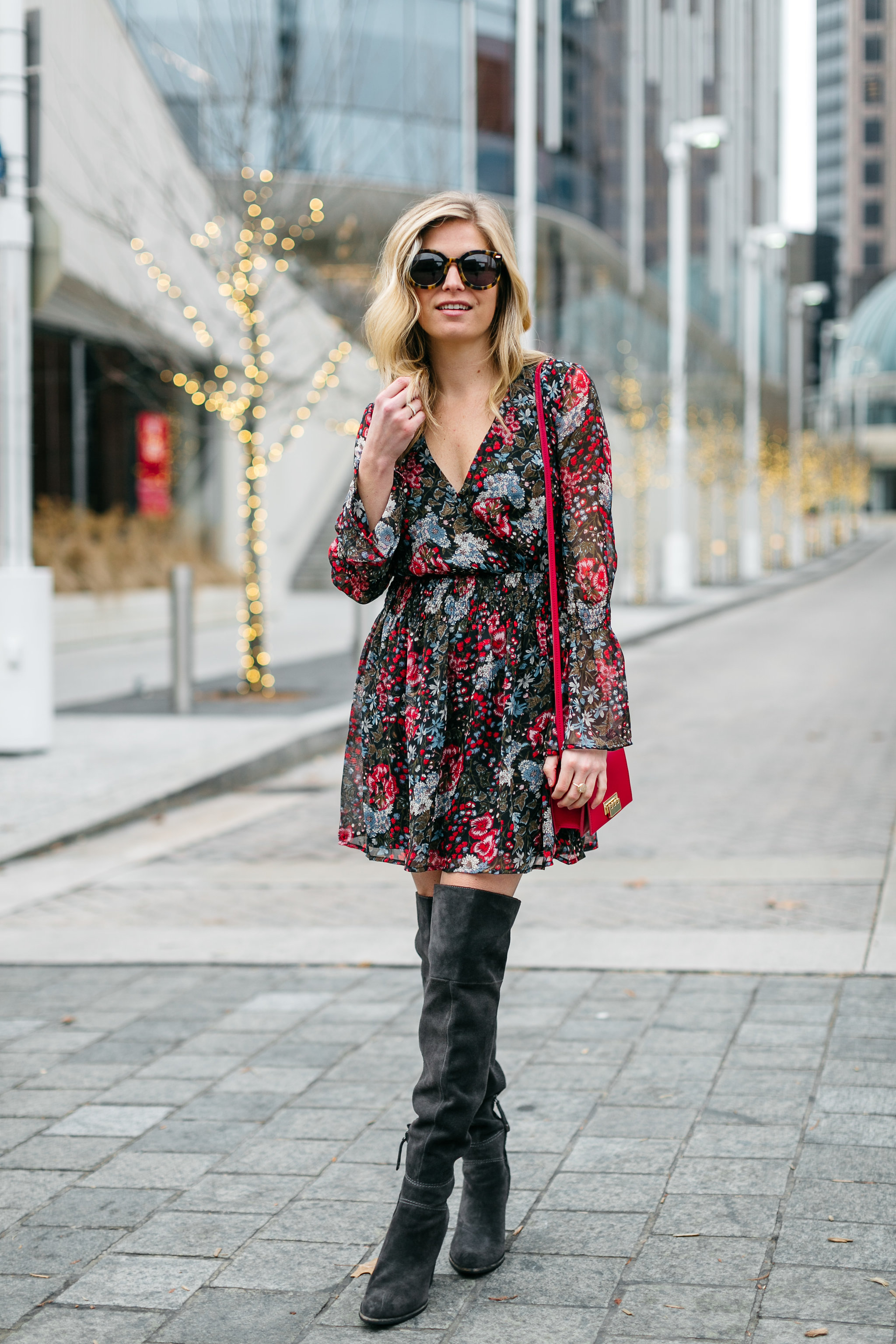 Floral dress with over-the-knee boots