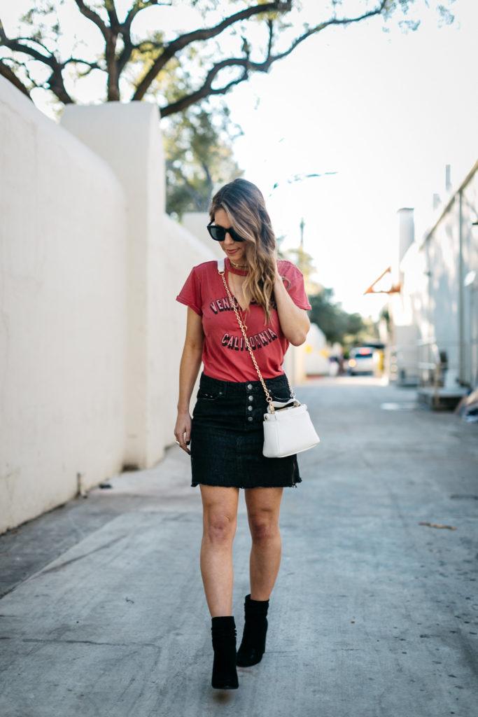 graphic tee and mini skirt