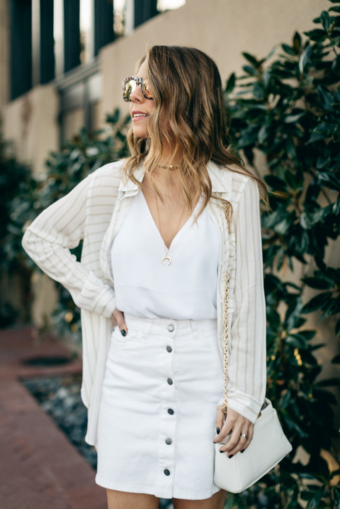 white button up skirt with cami