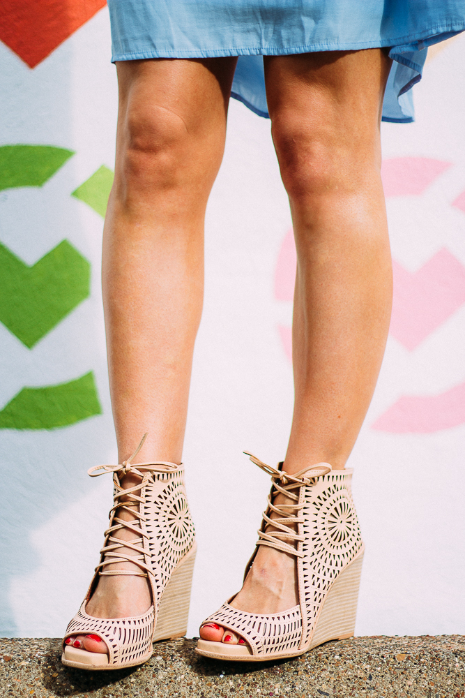 perforated lace up sandals