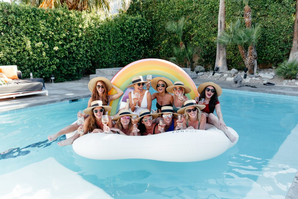 Palm Springs pool Bachelorette party