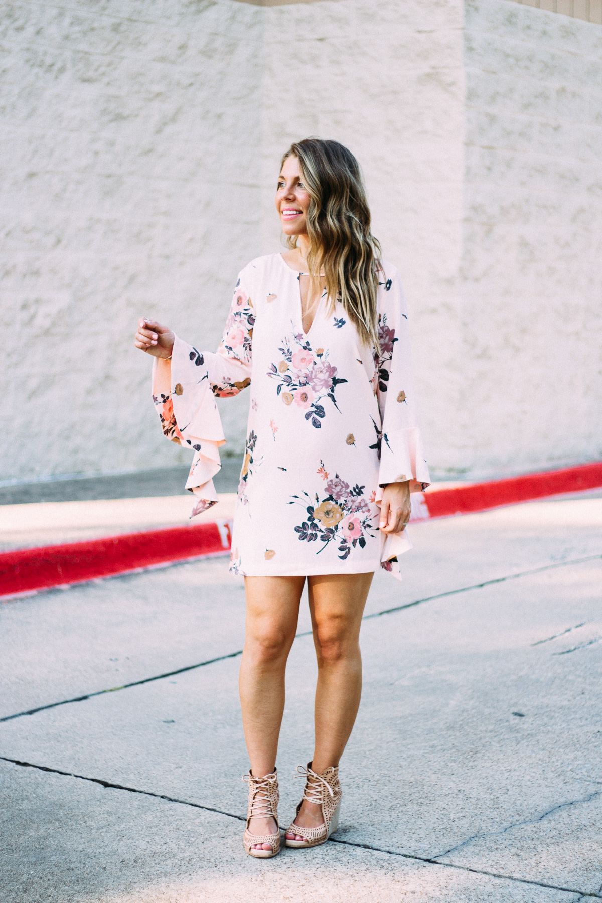 floral statement sleeve dress second trimester bumpdate
