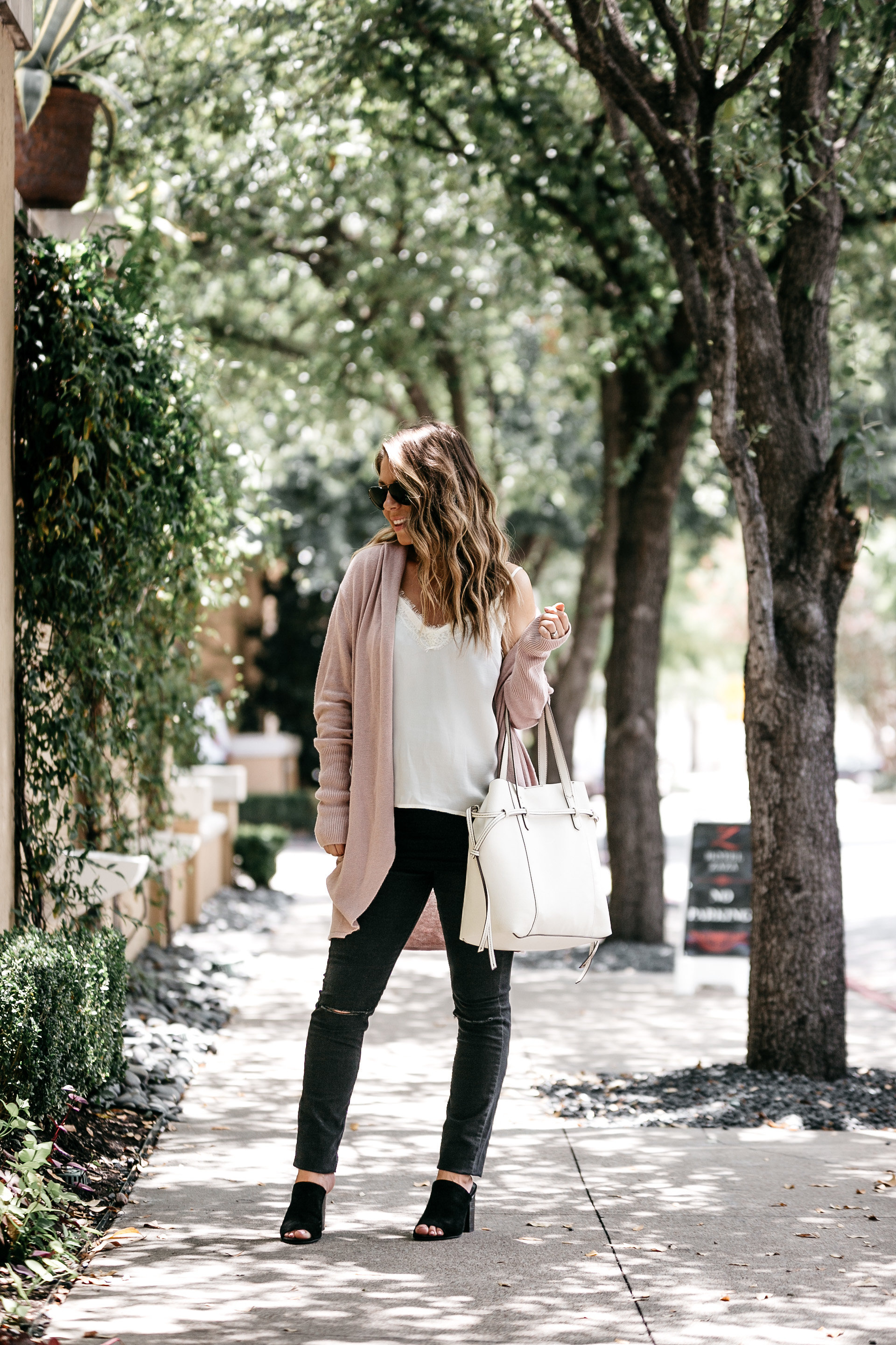 cozy cardigan with lace cami
