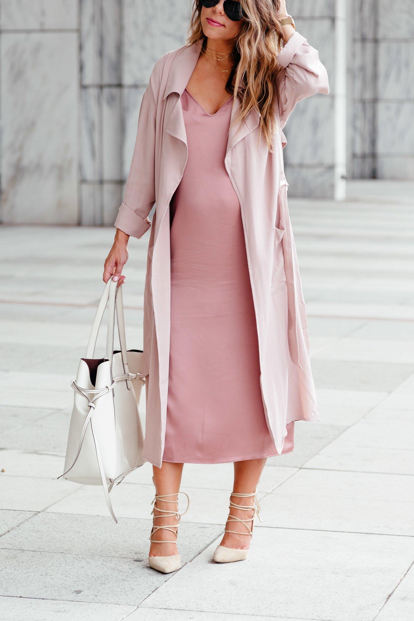 blush slip dress with trench coat