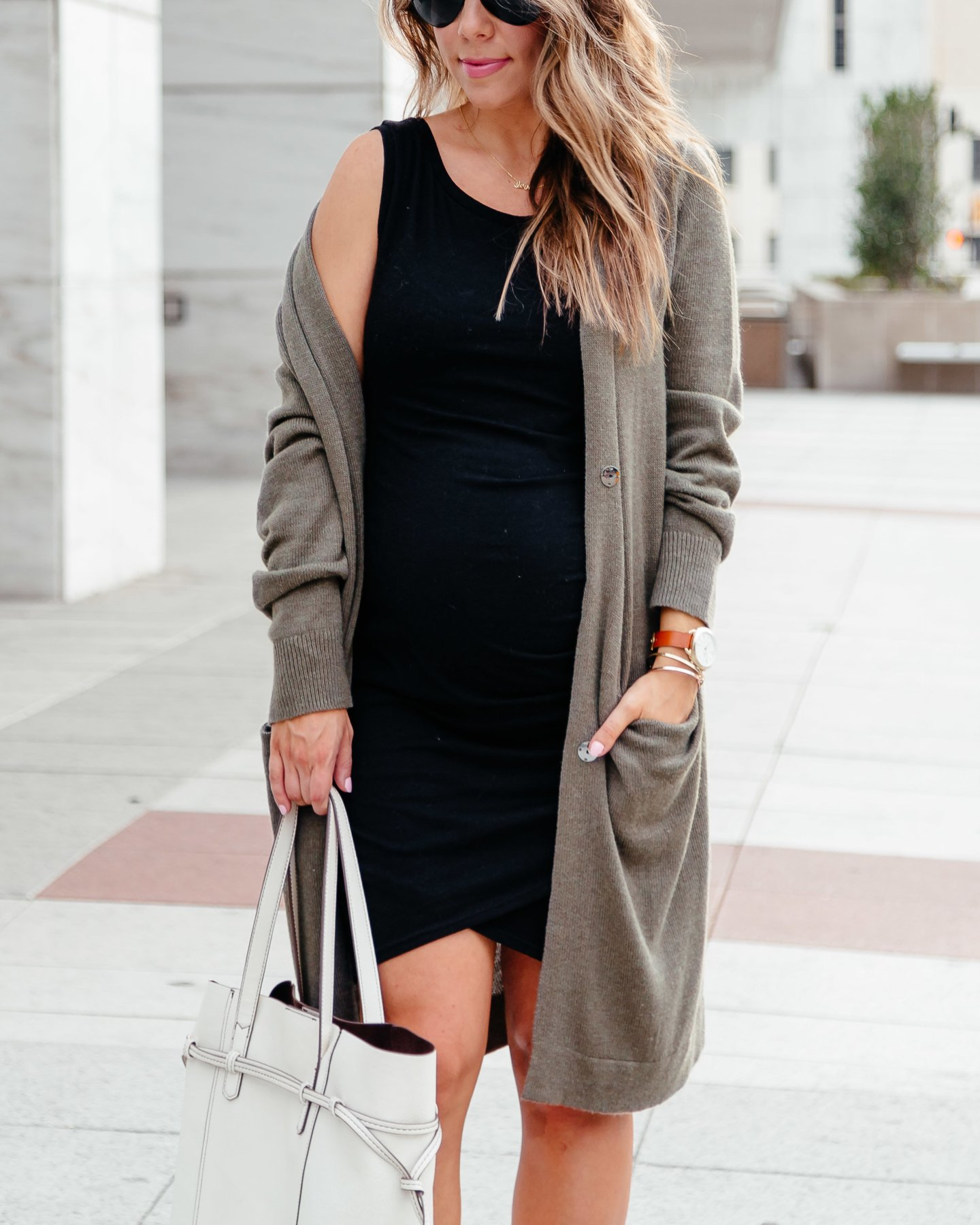 black bodycon dress with olive long cardigan