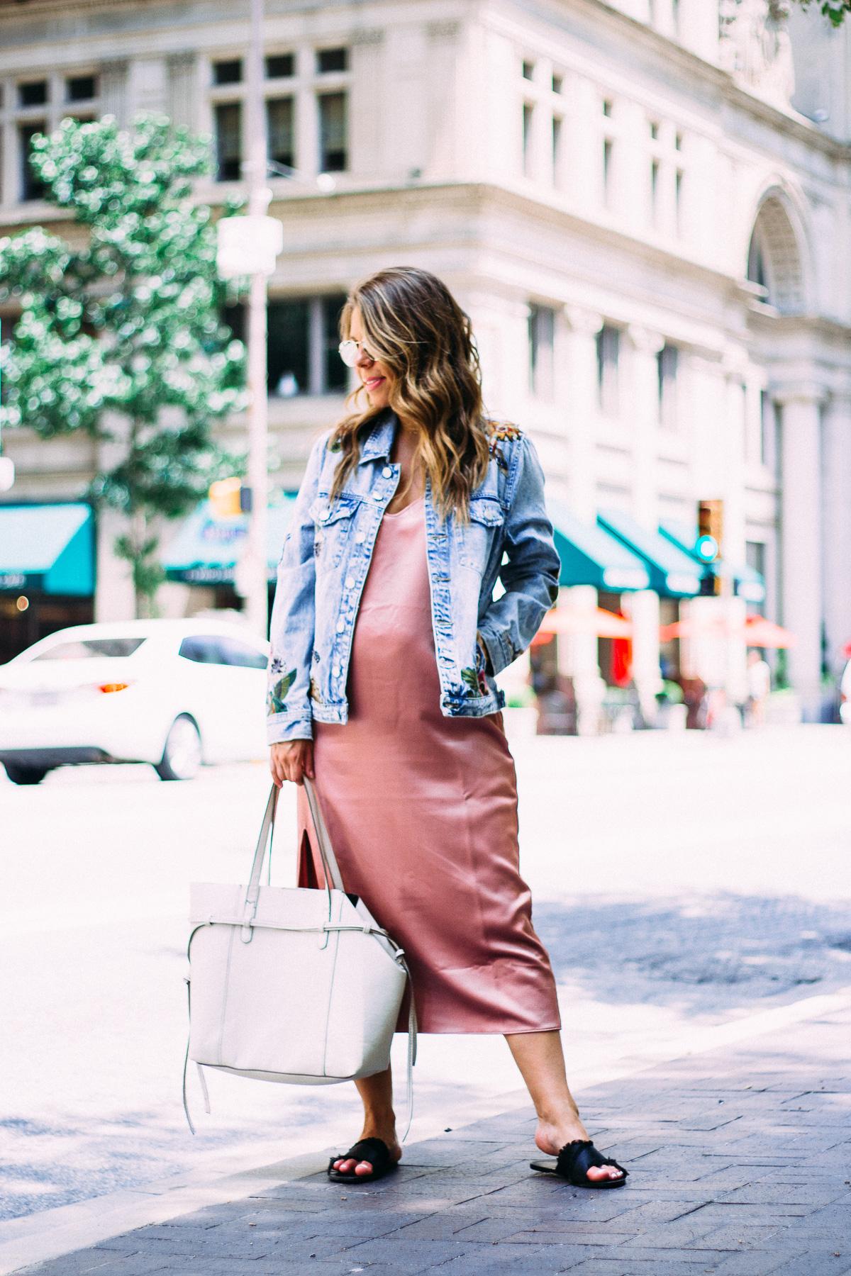 slip dress with denim jacket