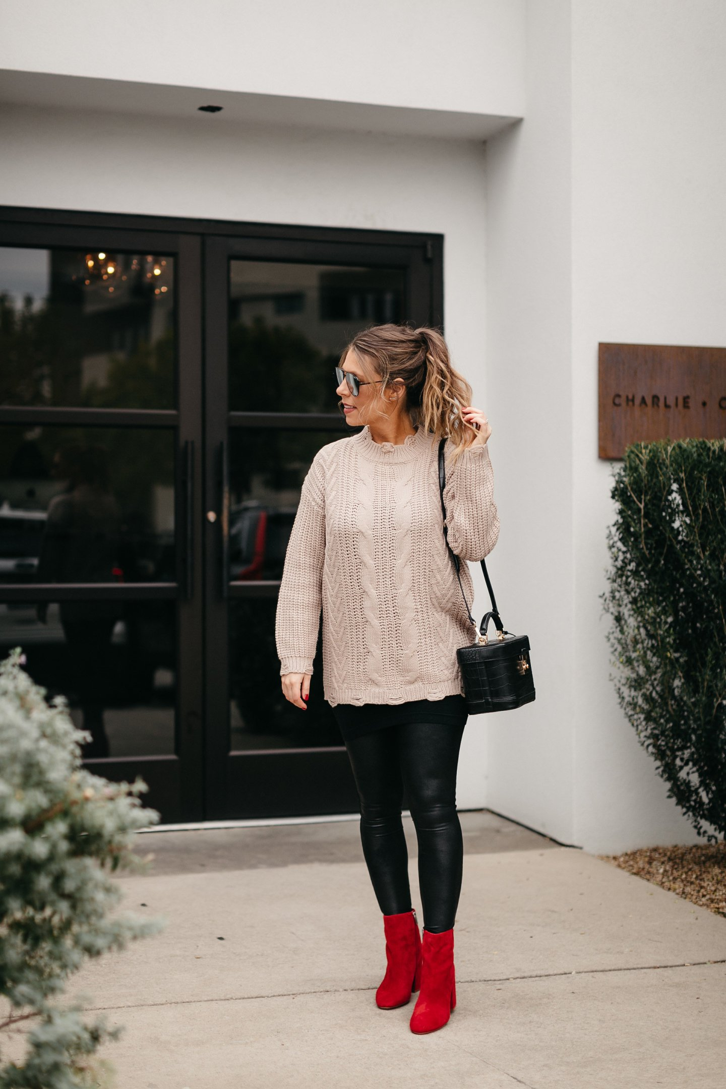 oversized sweater faux leather leggings red booties