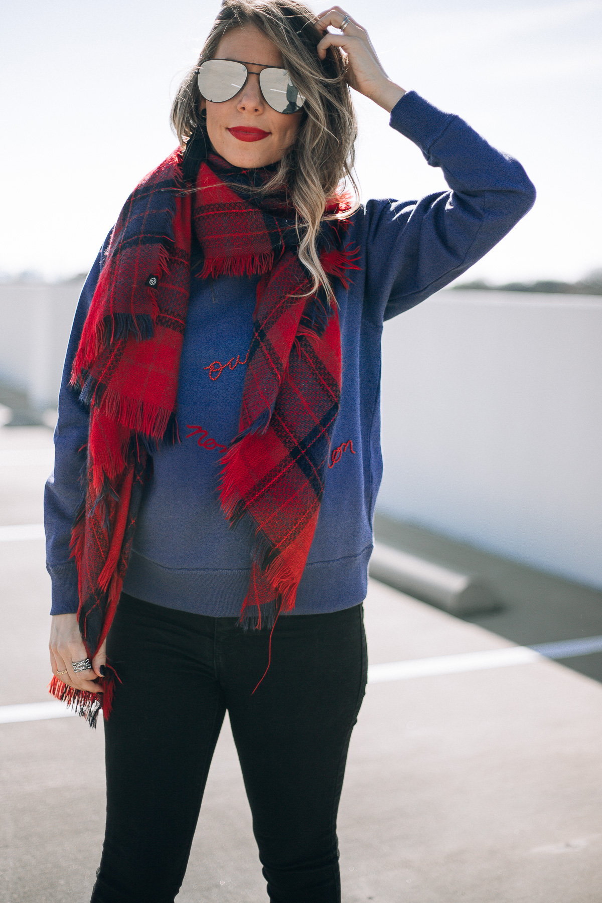 red and blue plaid scarf fashion blogger