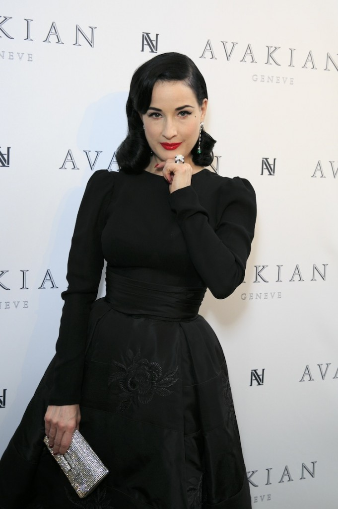 Dita Von Teese Visits The Avakian Suite at Carlton Hotel on May 23, 2015 in Cannes, France.