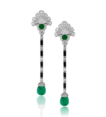 AVAKIAN's art-deco earrings in diamonds, emeralds and black onyx
