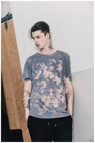 Ash Stymest models an oversized, somber print t-shirt from Ezekiel's spring 2015 collection.