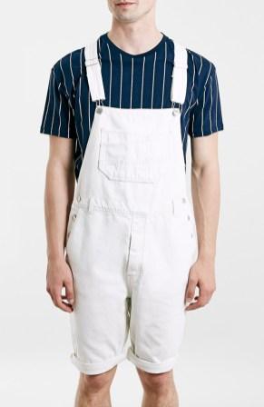 Topman White Denim Overall Shorts