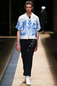 Prada gets artsy with graphic boxy short-sleeve shirts for fall-winter 2016.