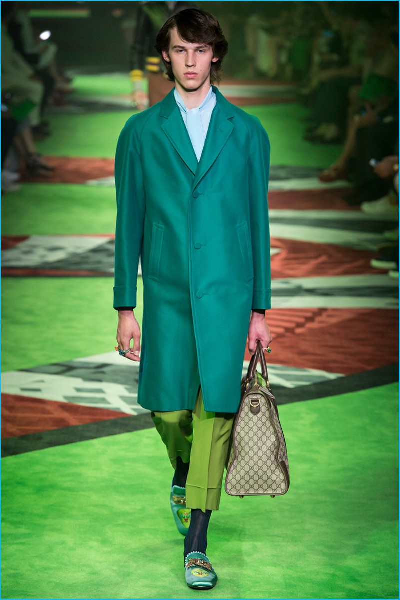 a2317fe190c Gucci-2017-Spring-Summer-Mens-Runway-Collection-019. Gucci juxtaposes a whimsical  look with a timeless leather biker jacket ...