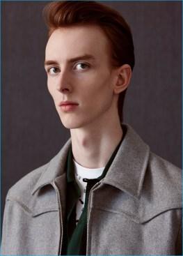 Matthew wears felt Harrington jacket and striped bowling shirt Lanvin.