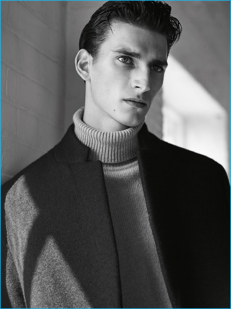 689a09f8 zara-man-2016-knitwear-editorial-006. Julius Gerhardt is a chic vision in a Zara  Man double-breasted coat ...