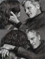 Viggo Mortensen appears in a black and white photo shoot for W magazine.