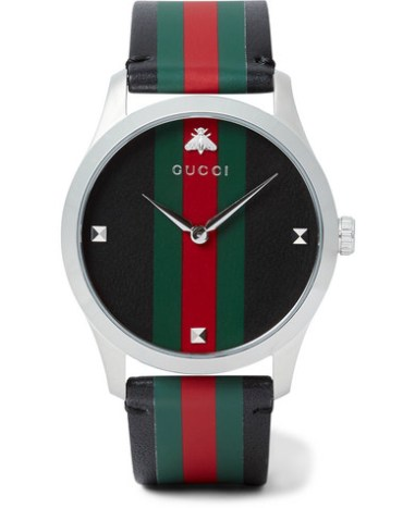 a7bbe2db548 Gucci - G-Timeless 38mm Stainless Steel and Striped Leather Watch - Men -  Black