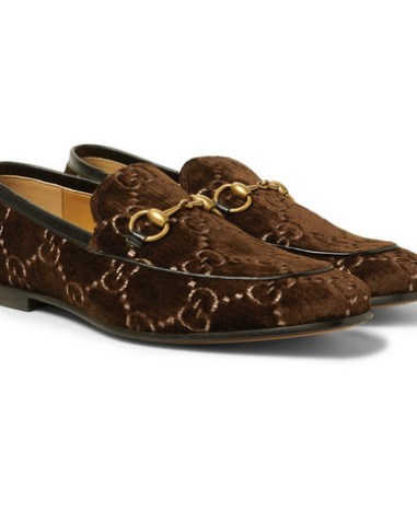200f30987df0 Gucci - Horsebit Leather-Trimmed Logo-Embroidered Velvet Loafers - Men - Dark  brown