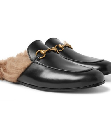 edd2990a9a9 Gucci - Princetown Horsebit Shearling-Lined Leather Backless Loafers - Men  - Black