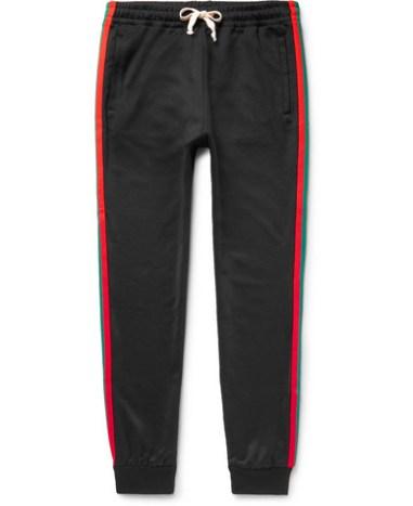 63a9a73570d28b Gucci - Tapered Webbing-Trimmed Tech-Jersey Sweatpants - Men - Black