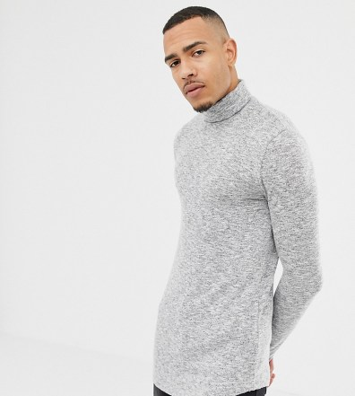 3381ccaf18c2 ASOS DESIGN Tall muscle fit longline long sleeve t-shirt with roll neck and  curved