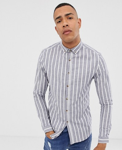 0c04f7adf ASOS DESIGN skinny shirt in khaki with short sleeves and button down ...