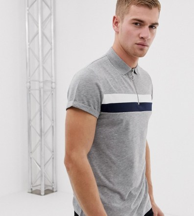 d1671f6cf ASOS DESIGN polo shirt with zip neck and roll sleeve in color block in gray  -