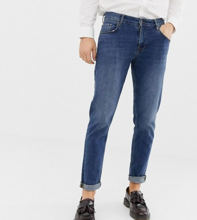 4ae0694c1bd ASOS DESIGN Tall 12.5oz slim jeans in vintage mid wash with knee ...