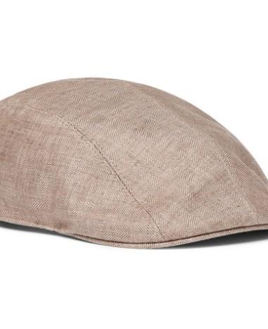 b1c7414ed3df2 Brunello Cucinelli - Leather-Trimmed Herringbone Linen Flat Cap - Men - Tan