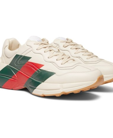650e6c72a Gucci – Virtus Distressed Leather and Webbing Sneakers – Men – Off ...