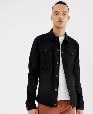 72772939196 ASOS DESIGN skinny denim jacket in gray – Gray | The Fashionisto